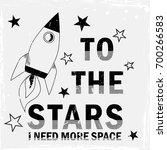 t shirt print design. rocket... | Shutterstock .eps vector #700266583