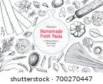 italian pasta top view frame.... | Shutterstock .eps vector #700270447