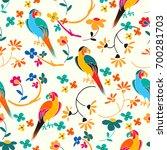 stylized exotic birds seamless... | Shutterstock .eps vector #700281703
