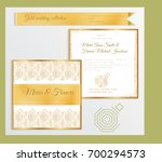 luxury wedding invitation... | Shutterstock .eps vector #700294573