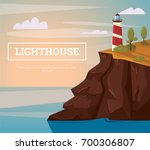 lighthouse on the rock with sea.... | Shutterstock .eps vector #700306807