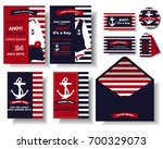 set of nautical baby shower... | Shutterstock .eps vector #700329073
