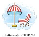 beach striped umbrella and...   Shutterstock .eps vector #700331743