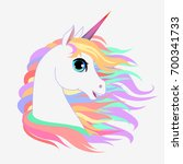 unicorn head portrait vector... | Shutterstock .eps vector #700341733