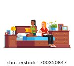 two students preparing for exam ... | Shutterstock .eps vector #700350847