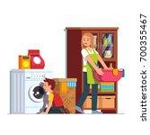 mother doing housework at home... | Shutterstock .eps vector #700355467