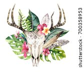 watercolor bohemian cow skull... | Shutterstock . vector #700358953