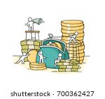 sketch of working little people ... | Shutterstock .eps vector #700362427