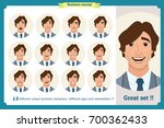 set of male facial emotions... | Shutterstock .eps vector #700362433