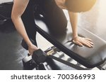 young asian women lifting... | Shutterstock . vector #700366993