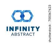 two hexagonal chain links logo. ... | Shutterstock .eps vector #700367623