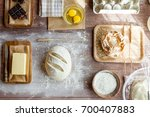fresh dough on kitchen  rustic... | Shutterstock . vector #700407883