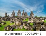 Small photo of Shrine of Prambanan Hindu temple compound included in world heritage list. Monumental ancient architecture, carved stone walls. Yogyakarta, Central Java, Indonesia