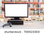 computer with blank screen on... | Shutterstock . vector #700423303
