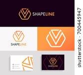 v logo linear icon hexagon sign ... | Shutterstock .eps vector #700445947