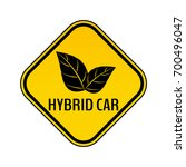 hybrid car caution sticker.... | Shutterstock .eps vector #700496047