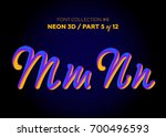neon 3d typeset with rounded... | Shutterstock .eps vector #700496593