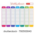 weekly planner colorful... | Shutterstock .eps vector #700503043
