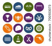 racing sport icons set color in ... | Shutterstock .eps vector #700503073