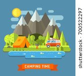 campsite place at mountain lake.... | Shutterstock . vector #700522297