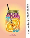 cocktail recipe fruit jar...   Shutterstock .eps vector #700523623