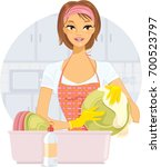 chores   washing dishes | Shutterstock .eps vector #700523797