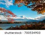 colorful autumn in mount fuji ...   Shutterstock . vector #700534903