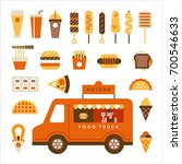foods sold in food trucks... | Shutterstock .eps vector #700546633