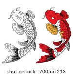 hand drawn line art of fish ... | Shutterstock .eps vector #700555213