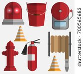 vector set firefighter fire... | Shutterstock .eps vector #700565683