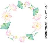 watercolor floral wreath...   Shutterstock . vector #700594627