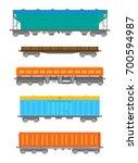 vector flat railway freight car ... | Shutterstock .eps vector #700594987