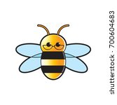 color bee wearing eye glass... | Shutterstock .eps vector #700604683