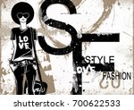fashion woman in sketch style.... | Shutterstock . vector #700622533