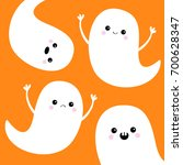 flying ghost spirit set. happy... | Shutterstock .eps vector #700628347