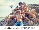 group of happy people take a... | Shutterstock . vector #700646167