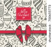 christmas seamless pattern with ... | Shutterstock .eps vector #700655773