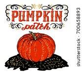 pumpkin patch. halloween poster ... | Shutterstock .eps vector #700658893