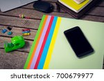high angle view of laptop and... | Shutterstock . vector #700679977