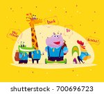flat set of happy  cartoon... | Shutterstock . vector #700696723