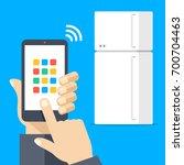 fridge controlled via... | Shutterstock .eps vector #700704463