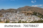 panoramic view of lindos town.... | Shutterstock . vector #700708627