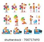 set of familiar people scenes... | Shutterstock .eps vector #700717693