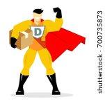 delivery concept. superhero... | Shutterstock .eps vector #700735873