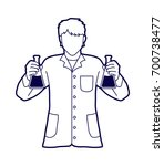 scientist with flask chemical... | Shutterstock .eps vector #700738477