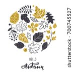 autumn leaves background. hand... | Shutterstock .eps vector #700745527
