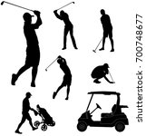 golf players silhouettes  ... | Shutterstock .eps vector #700748677