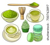 set of matcha powder  wooden... | Shutterstock .eps vector #700762897