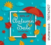 autumn sale banner with white... | Shutterstock .eps vector #700762927