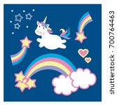 cute unicorn and rainbow... | Shutterstock .eps vector #700764463